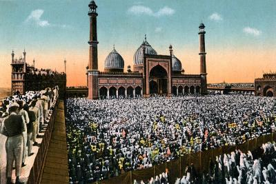 Friday Prayers, Jama Masjid, Delhi, India, Early 20th Century--Giclee Print