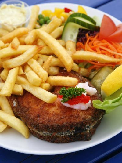 Fried Laks with Chips, Jutland, Denmark, Scandinavia, Europe-Yadid Levy-Photographic Print