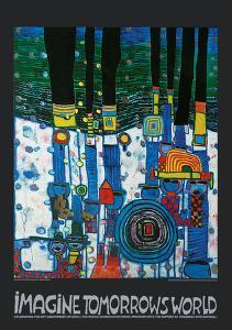 Imagine Tomorrow's World (blue version) by Friedensreich Hundertwasser