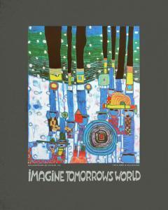 Imagine Tomorrows World (blue) by Friedensreich Hundertwasser