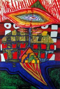 The Eye and the Beard of God by Friedensreich Hundertwasser