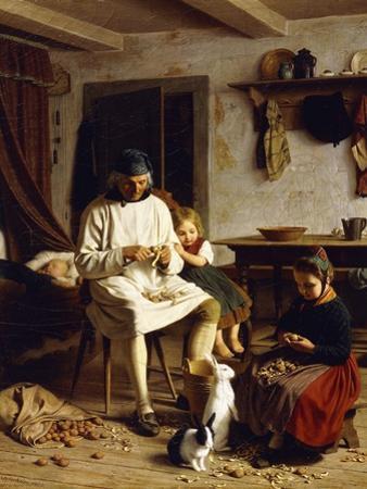 Family Chores, 1859 by Friedrich Edouard Meyerheim