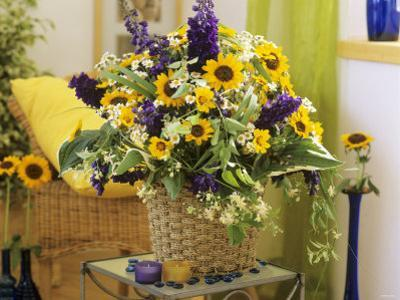 Arrangement of Delphiniums, Sunflowers and Coreopsis by Friedrich Strauss