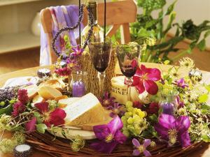 Cheese, Wine, Grapes, Clematis Flowers and Lavender by Friedrich Strauss