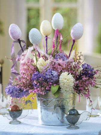 Easter Arrangement of Hyacinths Decorated with Eggs by Friedrich Strauss