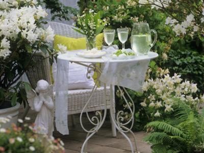 Meringues and Woodruff Punch on Romantic Garden Table by Friedrich Strauss