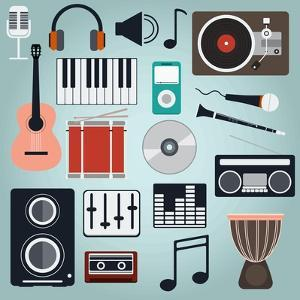 Music Instruments and Gadgets Big Icon Set by Frimufilms