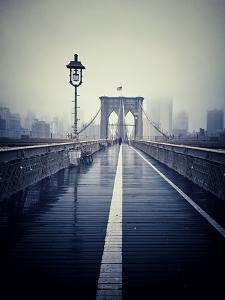 Brooklyn Bridge with Overcast Manhattan Skyline in the Background by Frina