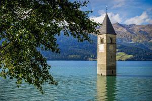 Church Steeple, 'Reschensee' (Lake Reschen), Comune of Graun, South Tyrol by Frina