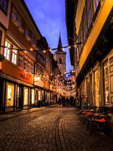 Kr?merbr?cke', View to '?gidienkirche', Erfurt, Evening Mood by Frina