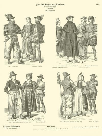 Frisian Costumes, 16th Century--Giclee Print