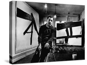 Abstract Expressionist Painter, Franz Kline, in Studio with His Black and White Paintings by Fritz Goro