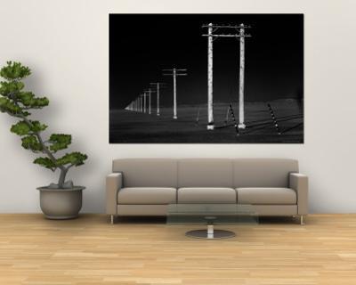 Row of Telephone Poles Along Bonneville Salt Flats