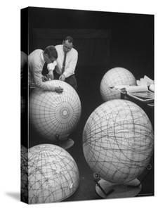 Scientists Studying Moon Phases on Models in Preparation For US Manned Flight to Moon by Fritz Goro
