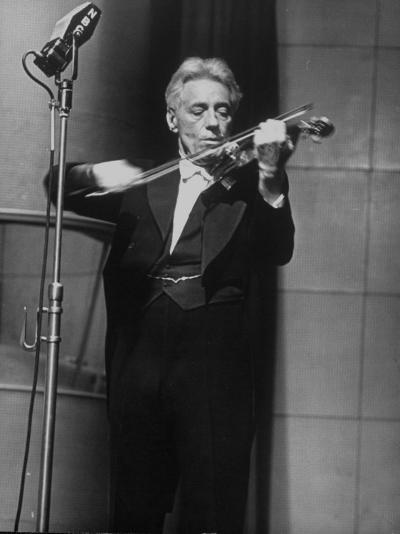 Fritz Kreisler, Austrian-Born Violinist and Composer, Playing Violin During Broadcast at NBC Studio-Alfred Eisenstaedt-Premium Photographic Print