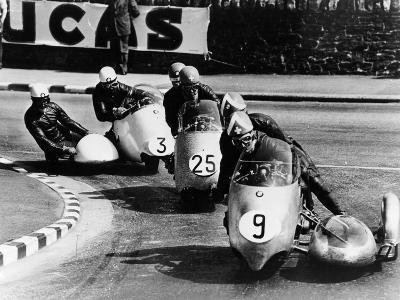 Fritz Scheidegger, Walter Schneider and Helmut Fath Competing in a Sidecar Race, 1959--Photographic Print