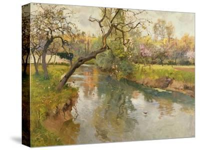French River Landscape with a Flowering Tree