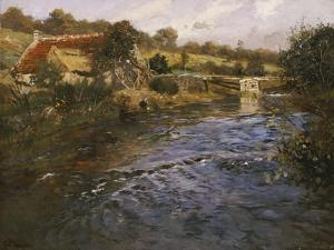 La Passerelle: a French River Landscape with a Washerwoman by Fritz Thaulow