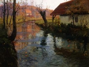 The Mill Stream by Fritz Thaulow
