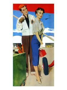"""The Flying Wife - Saturday Evening Post """"Men at the Top"""", August 16, 1958 pg.31 by Fritz Willis"""