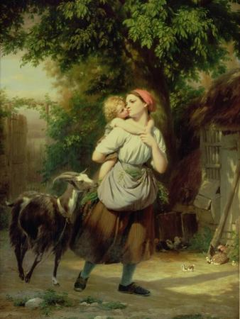 A Mother and Child with a Goat by Fritz Zuber-Buhler
