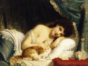 A Reclining Beauty with Her Cat by Fritz Zuber-Buhler