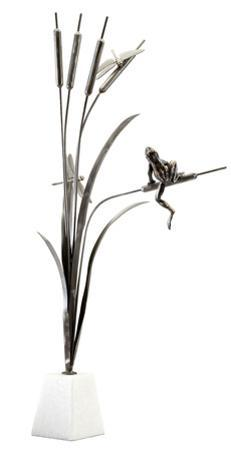Frog & Dragonfly Sculpture