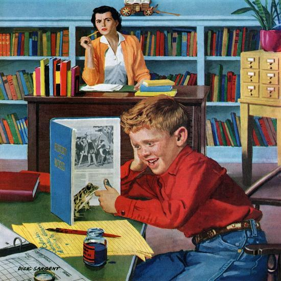 """""""Frog in the Library"""", February 25, 1956-Richard Sargent-Giclee Print"""