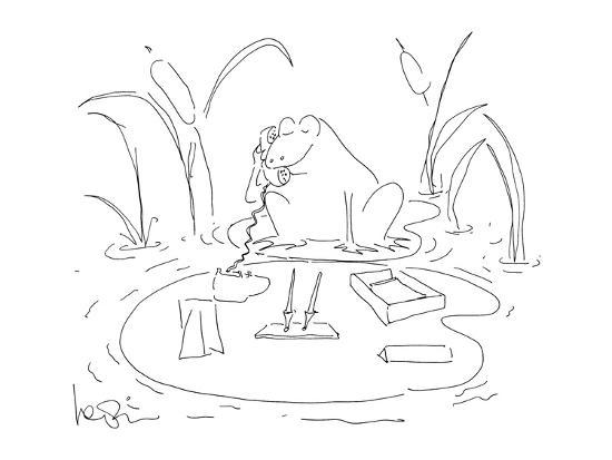 Frog with desk supplies on a lilly pad. - New Yorker Cartoon-Arnie Levin-Premium Giclee Print