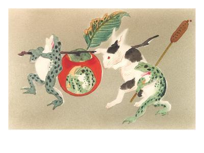 Frogs and Rabbit Carrying Palanquin--Art Print