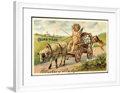 Frohe Ostern, Engel, Lamm, Ostereiern, Hase, Karren--Framed Giclee Print