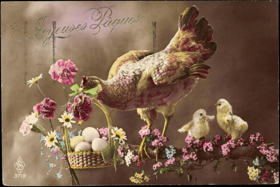 Frohe Ostern, Huhn, Küken, Ostereierkorb, Ast, Blumen--Giclee Print