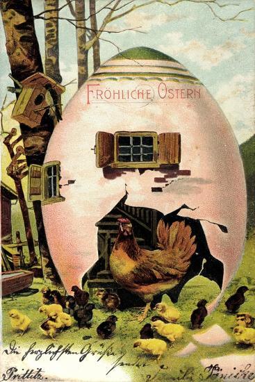 Frohe Ostern, Huhn Mit Ihren Küken, Osterei Als Haus--Giclee Print