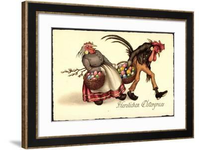 Frohe Ostern, Huhn Und Hahn Mit Ostereiern--Framed Giclee Print