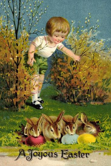 Frohe Ostern, Junge Entdeckt Osterhasen, Ostereier--Giclee Print