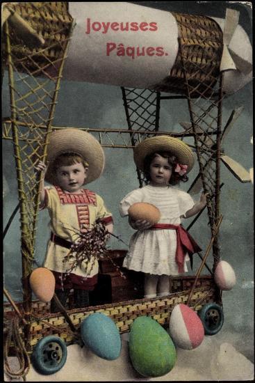Frohe Ostern, Kinder, Ballonfahrt, Ostereier--Giclee Print