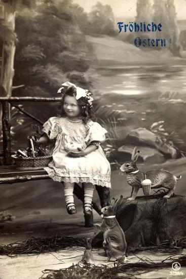 Frohe Ostern, Mädchen Am Fluss, Osterhasen, Korb--Giclee Print