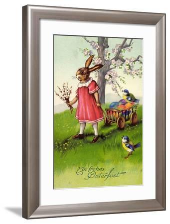 Frohe Ostern,Osterhase Zieht Wagen, Ostereier, Spatzen--Framed Giclee Print