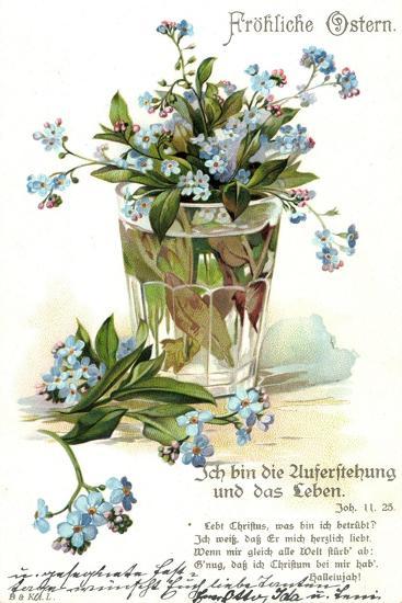 Frohe Ostern, Vergissmeinnicht, Wasserglas--Giclee Print