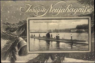 Frohes Neujahr, Unterseeboot, Soldaten, Tanne--Giclee Print