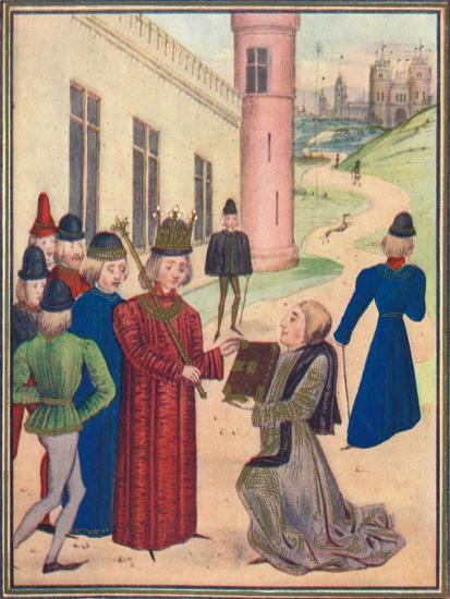 Froissart presenting his book of love poems to Richard II in 1395, 1905-Unknown-Giclee Print