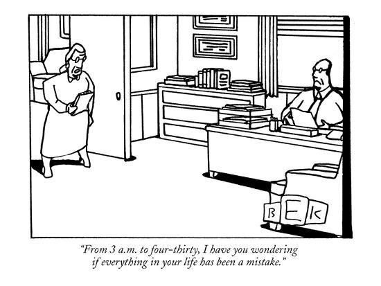 """""""From  3 a.m. to four-thirty, I have you wondering if everything in your l?"""" - New Yorker Cartoon-Bruce Eric Kaplan-Premium Giclee Print"""