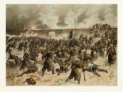 From the Battle Near Amiens on the 23rd of December 1870. the Storming of the Railway Dam Near Vill--Giclee Print