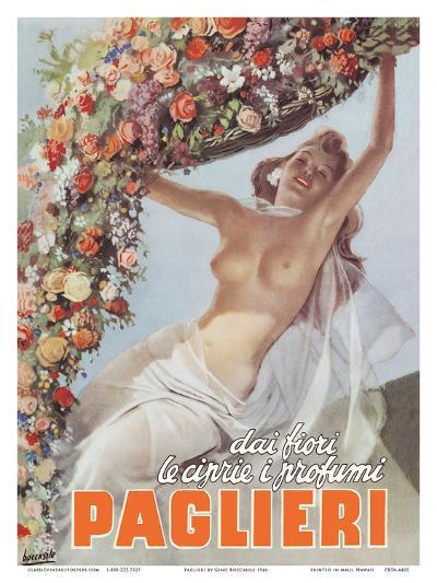From the Flowers come the Powders and Scents of Paglieri - Authentic Essence Perfume-Gino Boccasile-Art Print
