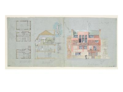 Front Elevation and Section for House and Studio for Frank Miles-Edward William Godwin-Giclee Print