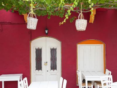 Front of Cafe, Taverna, Symi Island, Dodecanese Islands, Greece-Peter Adams-Photographic Print