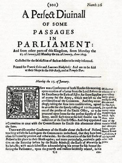 Front page of A Perfect Diurnall of Some Passages in Parliament, 1643 (1905)-Unknown-Giclee Print