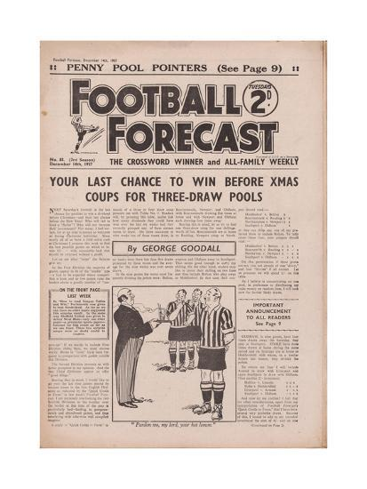 Front Page of 'Football Forecast', No 83, 14th December 1937 Giclee Print  by | Art com