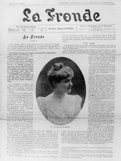 Front Page of 'La Fronde', Edited by Marguerite Durand, 1st January 1899--Giclee Print
