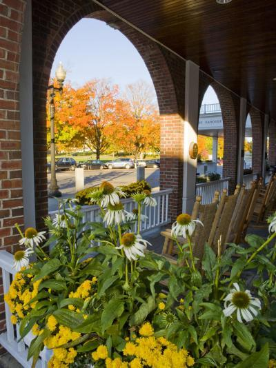 Front Porch of the Hanover Inn, Dartmouth College Green, Hanover, New Hampshire, USA-Jerry & Marcy Monkman-Photographic Print